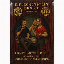Breweriana; Ernst Bottle Beer tin litho sign, bar advertising;