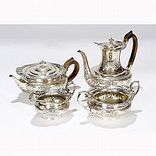 Late Victorian English sterling silver repousse tea service; Hallmarks for Edward Barnard, London, 1896.