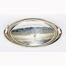 Mappin & Webb English sterling silver oval handled serving tray, Sheffield 1898.