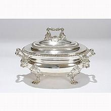 Old Sheffield silver plate soup tureen; lion head handles and paw feet, sun hallmarks for Matthew Boulton.