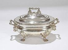 Old Sheffield silver plate soup tureen; lion head handles and paw feet; sun hallmarks for Matthew Boulton.