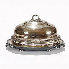 Old Sheffield silverplate meat platter with hot water base, and dome with hallmarks for Matthew Boulton, sterling border at rim.