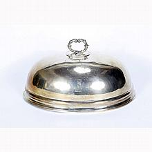 Old Sheffield silverplate meat dome with bull dog crest.