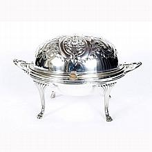 Old Sheffield silverplate bacon warmer / server, T&J Creswick.