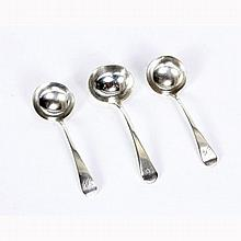 Three George III sterling silver ladles.