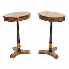 Biedermeier style pair of one drawer antique side table stands;