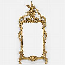George III giltwood mirror in the Chinese Chippendale taste with phoenix ho-ho bird at top.