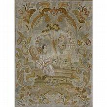 Pair framed French aubusson wool tapestries; courting scenes with cherubs.