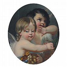 Continental School; 19th Century Bacchanalian cherubs oval format oil painting on canvas.