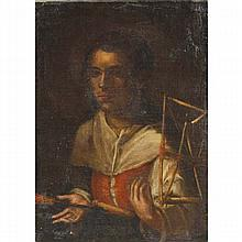 Naive Dutch School genre painting, peasant woman trade portrait with yarn swift, oil on canvas,