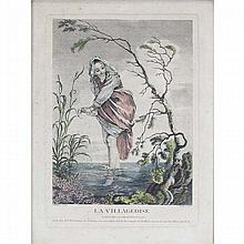 Watteau, Antoine (1684-1721) 'La Villageoise' colored engraving.