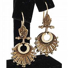 Rose gold 14K Egyptian revival pierced dangle earrings.