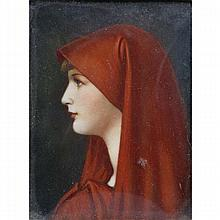 Manner of Jean Jacques Henner, St. Fabiola in Red Cloak, French Pre Raphaelite profile portrait miniature on ivory.