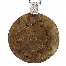 Chinese carved jade dragon medallion on sterling chain.