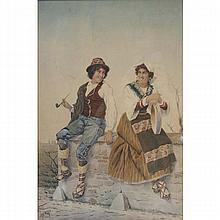 Filippo Indoni, (Italian, 1842-1908), peasant couple, genre watercolor on paper, 21