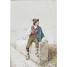 Filippo Indoni, (Italian, 1842-1908), peasant boy with pipe, watercolor on paper, 20