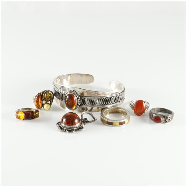 Mexican sterling silver amber mixed metal and stone 7pc s for Silver jewelry repair indianapolis