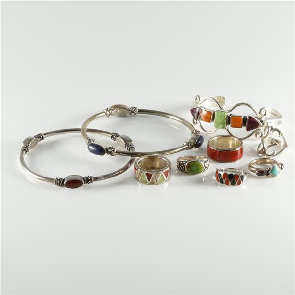 Sterling silver and multicolored stone 9pc set two bangle for Silver jewelry repair indianapolis