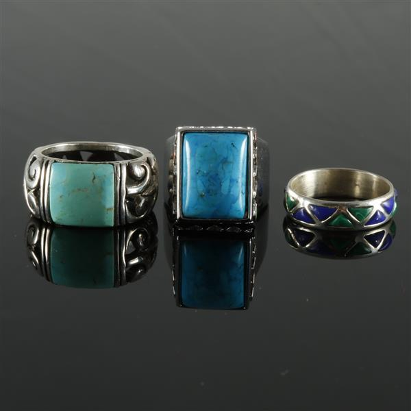 Sterling silver enamel and turquoise 5pc set bracelet th for Silver jewelry repair indianapolis