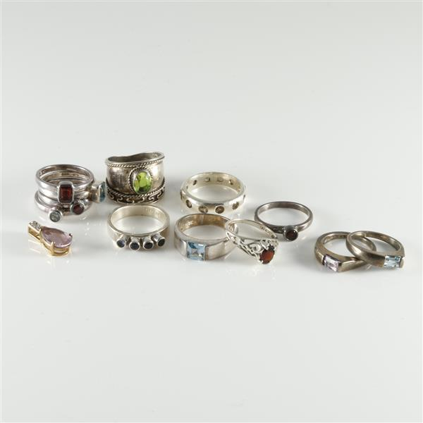 Sterling silver and gemstone 13pc set five stack rings am for Silver jewelry repair indianapolis