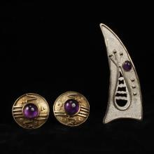Modern contemporary art jewelry 2pc. sterling brooch and earrings with amethyst cabochons.