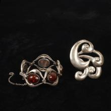 Mexican / modernist 2pc.; swirl brooch marked RG and carnelian cabochon bracelet.