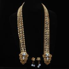 Unsigned Miriam Haskell / Frank Hess 2pc. SET; multistrand wrap necklace and drop earrings with moonglow glass and rhinestone encrus...
