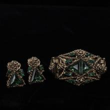 Unmarked vintage 2pc. Set; Gold Tone Metal with Emerald Green Jewels cuff bracelet & Clip Earrings.