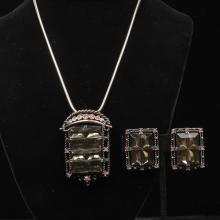 Unmarked Sarah Coventry 2pc. necklace and earrings set; invisible set smoky jewels and pink rhinestones.