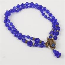 Miriam Haskell two strand poured blue glass beaded necklace.