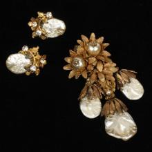 Amourelle brooch pin and Miriam Haskell earrings with gold tone floral and crystal embellishments