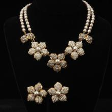 Miriam Haskell 2pc. two strand faux pearl necklace with coordinating clip earrings; rhinestone and seed pearl encrusted flowers.