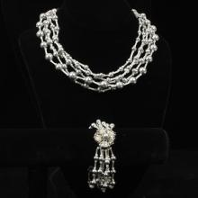 Miriam Haskell multi strand silver & white glass bead and faux gray pearl necklace and bracelet set.