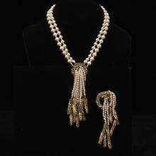 Miriam Haskell 2pc. gold tone, crystal faux pearl cascading drop, two strand necklace and brooch pin.