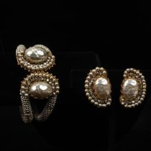 Miriam Haskell gold tone, crystal and faux seed pearl rope bracelet and crystal and faux pearl