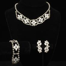 Vintage 1930s opalescent glass and rhinestone jewelry parure; necklace, bracelet and earrings.