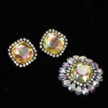 Vendome pin and earring set with iridescent aurora borealis jewels, rhinestones and blue crystals.