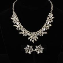 Vintage Unmarked Art Deco 2pc. Clear Rhinestone Diamante Necklace & Clip Earrings