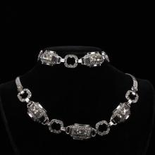 Art Deco Sterling Silver Diamante 2pc. Set; Bracelet & Necklace with Colorless Crystal Paste Rhinestones