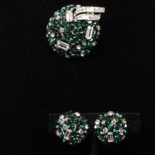 Austrian crystal green dome cluster brooch pin and earrings set with diamante bow.