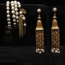 Miriam Haskell faux pearl and gold tone spiral cuff bracelet with multistrand chain dangles and gold tone chain and pearl chandelier...