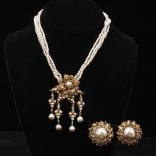 Miriam Haskell gold tone, faux pearl and crystal necklace with earring set.