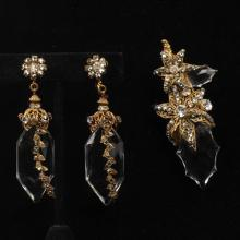 Miriam Haskell pin and earrings with large acrylic hexagon crystals, filigree gold tone flowers and rhinestones.