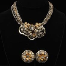 Miriam Haskell gold and silver tone five chain bib necklace with crystals and faux pearls and floral, pave crystal earrings.