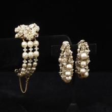 Miriam Haskell faux pearl & crystal three strand cuff bracelet with floral cluster clasp and hoop drop clip earrings.