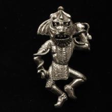Vintage 1930s / 40s novelty pin brooch of tribal native masked figural effigy dancer with snakes.
