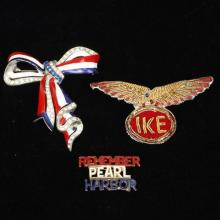 Patriotic themed 3pc. red, white & blue pin set; embroidered military eagle with IKE pin back, enameled Remember Pearl Harbor, and p...