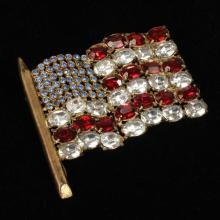 Chanel novelty patriotic red, white and blue crystal American flag figural brooch / pin with gold wash.