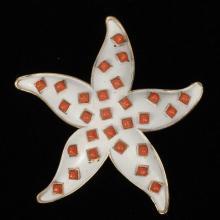 Crown Trifari white enamel and coral cabochon starfish brooch pin.