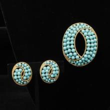 Trifari turquoise glass and gold tone oval pin brooch and earrings set.